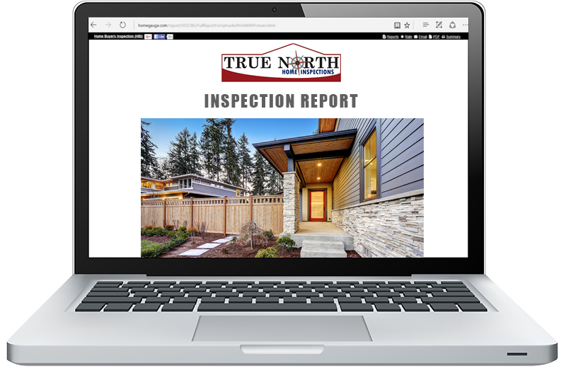 Lap Top showing True North online home inspection report.
