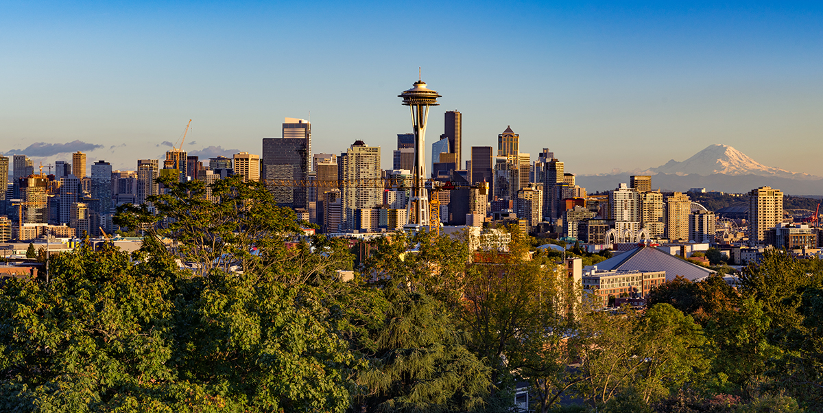 A cityscape of downtown Seattle as seen from Kerry Park in the Queen Anne neighborhood.